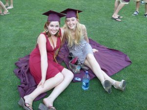 Rachel and I on the lawn of Sun Devil's Stadium