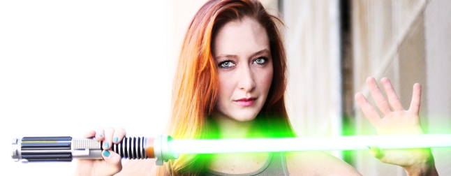 Girl with lightsaber